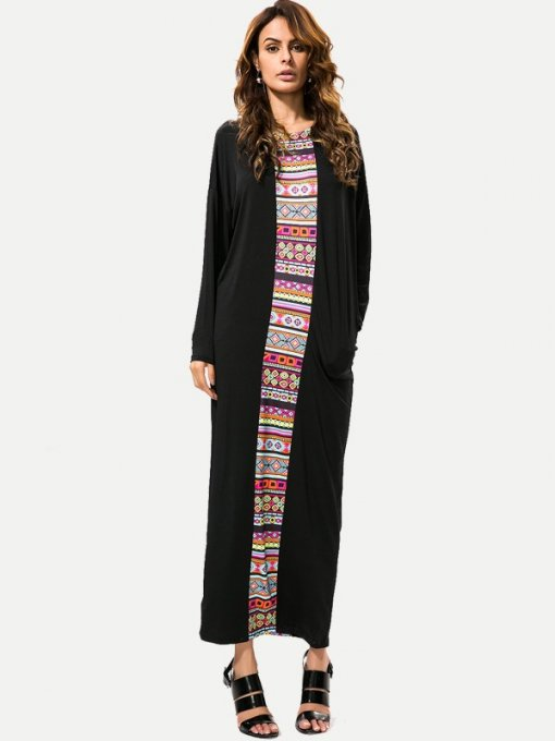 Black Printed Long Sleeve Maxi Dress