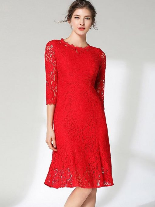 Red Lace Party Skater Dress