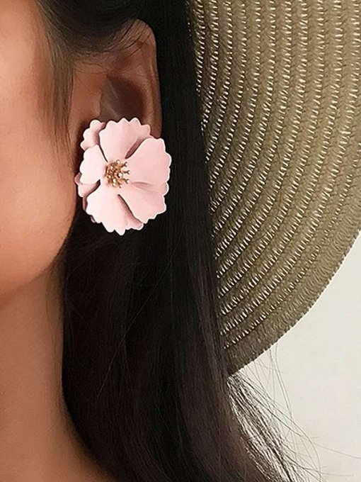 Pink Flower Shaped Stud Earrings