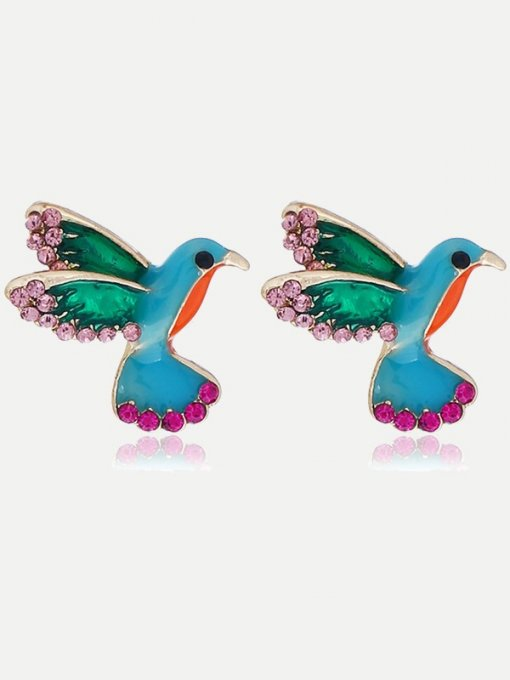 Rhinestones Decor Birds Stud Earrings