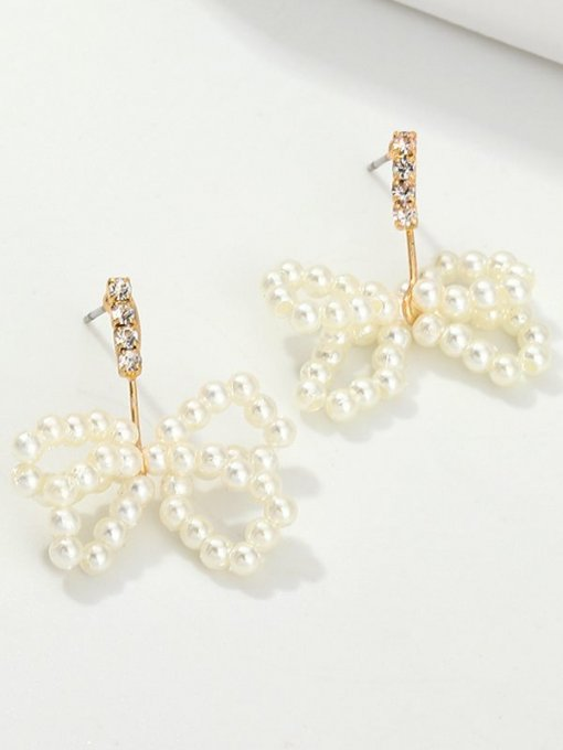 Bowknot Shaped Gold Pearl Earrings