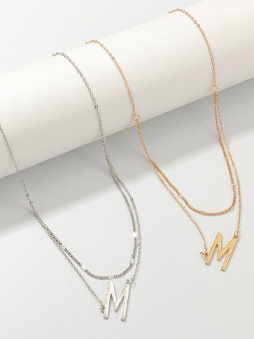 Letter Layered Chain Necklace