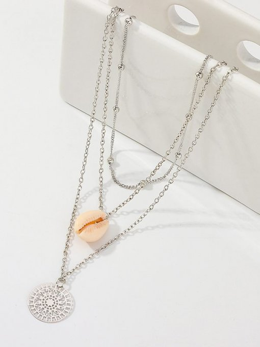 Shell Silver Layered Pendant Necklace
