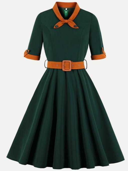 60s Color Block Belted Swing Dress