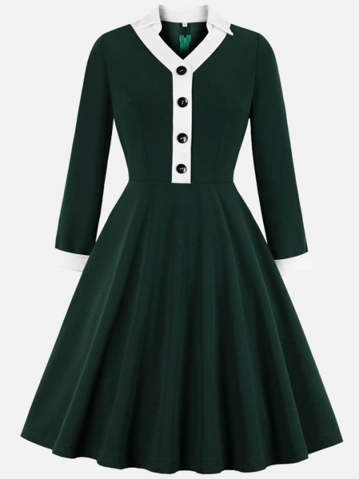 60s Green V Neck Swing Dress