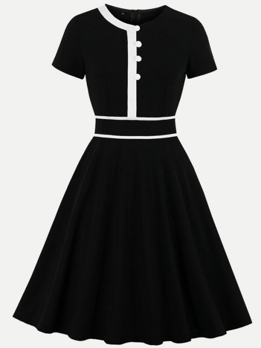50s Black Color Block A-line Dress