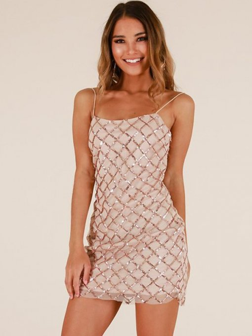 Gold Sequin Backless Bodycon Slip Dress