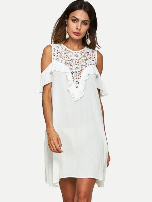 White Hollow Lace Ruffle Dress