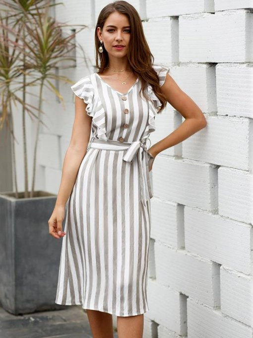 Striped Ruffle Hem Tank Belted Dress