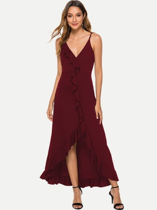 Sexy Ruffle Hem Wrap Slip Prom Dress