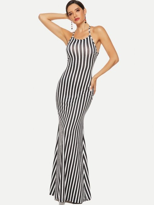Halter Neck Striped Mermaid Maxi Prom Dress