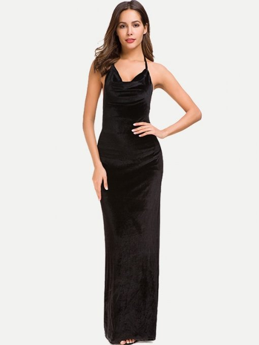 Black Halter Neck Ruched Backless Maxi Velvet Dress