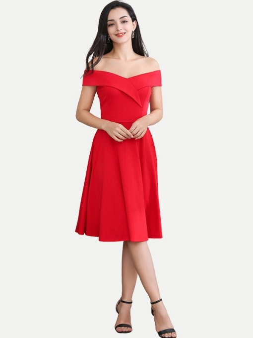 Solid Off Shoulder A-line Homecoming Dress