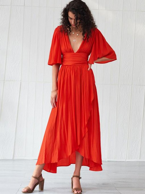 Orange V Neck Backless Wrap Formal Dress