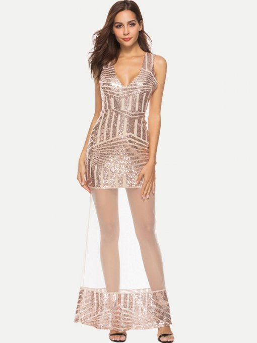 Sequin Mesh Bodycon Maxi Formal Dress
