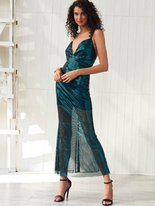 Green Sequin Bodycon Backless Slip Evening Dress