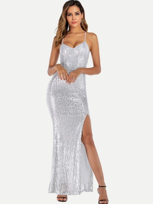 High Slit Sequin Backless Bodycon Prom Dress
