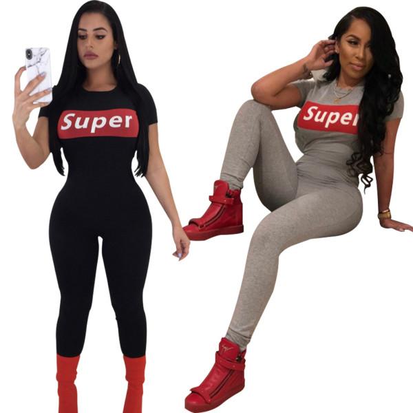 Women short sleeve zipper letter print casual club party bodycon sports jumpsuit