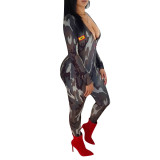 Women long sleeves camouflage red mouth print bodycon club party long jumpsuit
