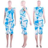 Women sleeveless ruffled print casual club party summer mid short jumpsuit