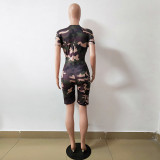 Women short sleeves camouflage letter print casual sport clubwear party short jumpsuit