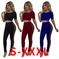 Women short sleeves side stripes casual club party sports long jumpsuit pants suit 2pc