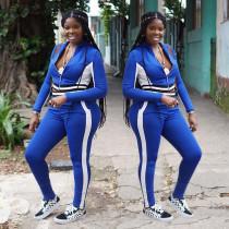 Women Casual Long Sleeves Zipper Colors Patchwork Bodycon Tracksuit Jumpsuit 2pc