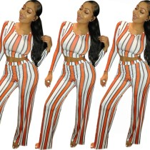 Women Long Sleeves Stripes Casual Club Party Bodycon Long Pants Jumpsuit 2pc
