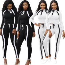 Women Long Sleeves Stripes Casual Club Bodycon Sports Jumpsuit Tracksuit 2pc