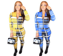 Women long sleeves checks print bodycon club party casual jumpsuit