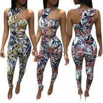 Women one shoulder classic print bodycon club party casual event long jumpsuit