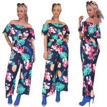 Womens off shoulder floral print bodycon long wide legs clubwear party jumpsuit