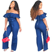 Women Boat Neck Ruffled Zipper Bodycon Club Party Casual Jumpsuit with Belt
