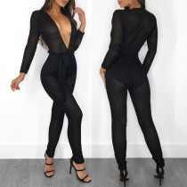 Sexy Women's Deep V Stripes Mesh Perspective Bodysuit Bodycon Club Jumpsuits