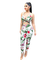 Sexy Women Backless Exposed Waits Floral Bodycon Clubwear Halter Jumpsuit Romper