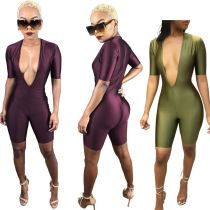 Women's Fashion V Neck Short Sleeve Solid Bodycon Cropped Jumpsuit Casual Club