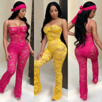 Women Spaghetti Strap Solid Lace Sheer Bodycon Club Party Jumpsuit with Headband