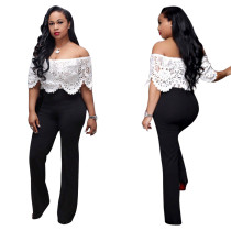 Sexy Women Boat Neck Hollow Out White Lace Patchwork Bodycon Club Party Jumpsuit