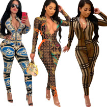 Women long sleeves print zipper bodycon club party long jumpsuit