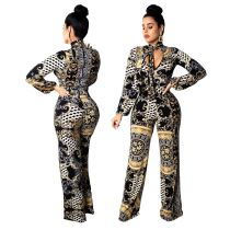 Women long sleeves classic print casual club party long jumpsuit