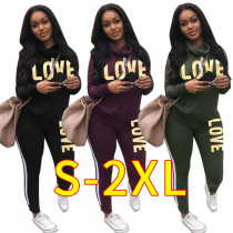 Women long sleeves letter print casual club party patchwork pants set 2pc