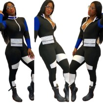 Women Long Sleeve Zipper Color Patchwork Fashion Casual Sport Bodycon Jumpsuit