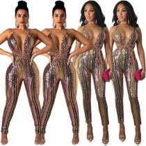 Women Spaghetti Strap V Neck Sequins Patchwork Causl Club Party Evening Jumpsuit