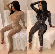 Sexy Women long sleeves mesh bodycon club party long hot fix rhinestone jumpsuit