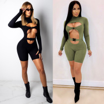Women Long Sleeves Bodycon Hollow Out Club Party Release Buckle Short Jumpsuit