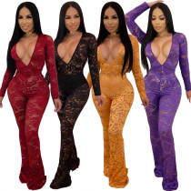 Women Lace Sheer Perspective Deep V Neck Bell Bottoms Bodycon NightClub Jumpsuit