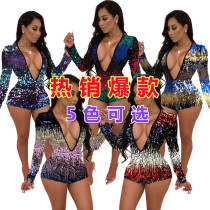 Women Long Sleeves V Neck Bodycon Club Party Colorful Sequins Short Jumpsuit