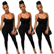Women Spaghetti Strap Black Casual Club Bodycon Side Mesh Patchwork Jumpsuit