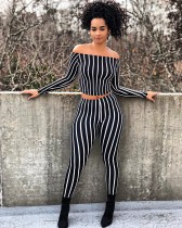 Women Boat Neck Long Sleeves Stripes Casual Club Party Bodycon Jumpsuit 2pc