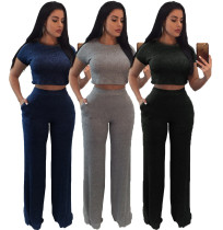 Women short sleeves bodycon rib cotton casual club party long jumpsuit 2pc